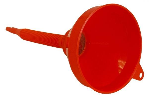 MATO Kunststofftrichter, rot mit eingesetztem Sieb und aufschraubbarem, flexiblem Schlauch 160 mm D