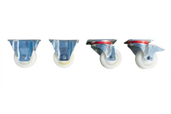 Satz Polyamid Lenk- und Bockrollen, Raddurchmesser 100 mm, Bauhöhe 125 mm, Tragfähigkeit 350 kg pro