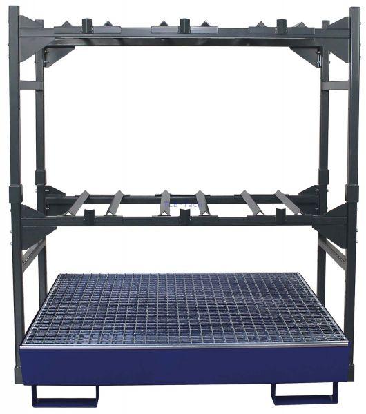 Fassregal mit Auffangwanne SAF-4 für 3x60 l Fässer bzw. 2 x 200 Liter Fässer