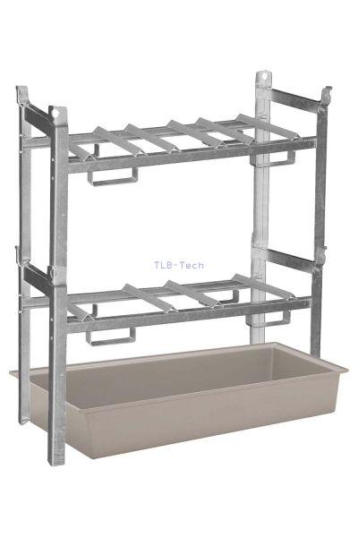 Fassregal mit GFK Auffangwanne für 3 x 60 Liter Fässer bzw. 2 x 200 Liter Fässer