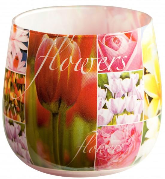 "Duftglas Duftkerze mit Motiv ""Flowers"" Duft: Blumen"