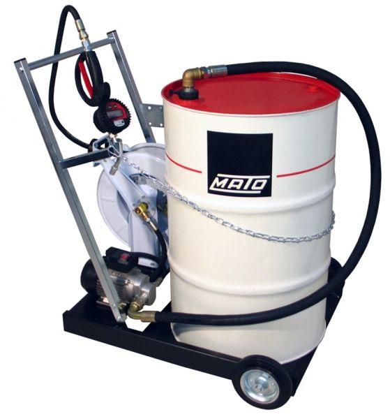 MATO Elektro-Zahnrad-Pumpensystem EP200-F mobil für 200 Liter Ölfässer mit 10 m Schlauchaufroller