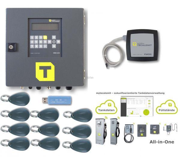 Tankautomat HDA eco für einen Zapfpunkt, Tandatenerfassung HDA eco Kit (mit FMOG 100, Impulsgeber-Se